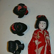 Old Japanese Miniature Doll Four Wigs & Kimono