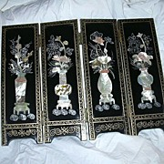 Chinese Black Lacquer Table Folding Screen Inlaid Flowers