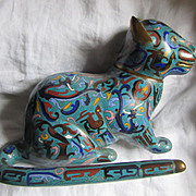 Large Rare Cloisonne Cat Statue Oriental Metalwork Art