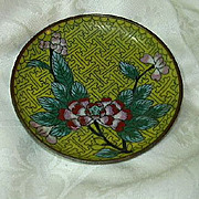 Old Cloisonne Yellow Floral Dish