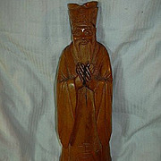 Carved Wood Oriental Figure Statue