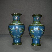 Pair Cloisonne Vases Dragon Chasing Flaming Pearl
