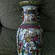 Old Famille Verte Chinese Large Vase Court Scene & Warriors