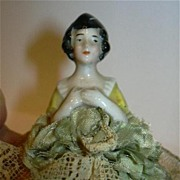 Antique Germany Pincushion Doll Fine Porcelain Half Doll With Base Costume