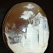 Antique Victorian Rare Shell Cameo Brooch Late 1800's Finely Carved