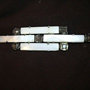 Art Deco White MOP & Rhinestone Bar Pin