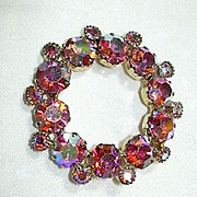 Pink Rhinestone Circle Pin Brooch