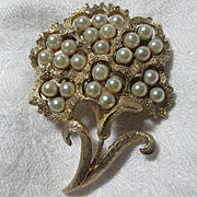 Coro Flower Pin Faux Pearl Blooms