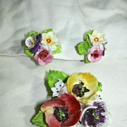 Dorothy Ann China England Ceramic Flower PIn Earrings Set