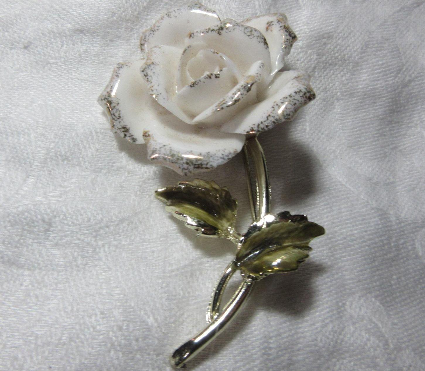 Coro White Enamel Flower Pin