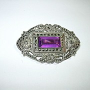 Marcasite Brooch With Purple Center