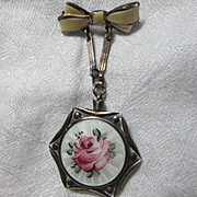 Old Faux Locket Pin Photo Holder Enamel Rose
