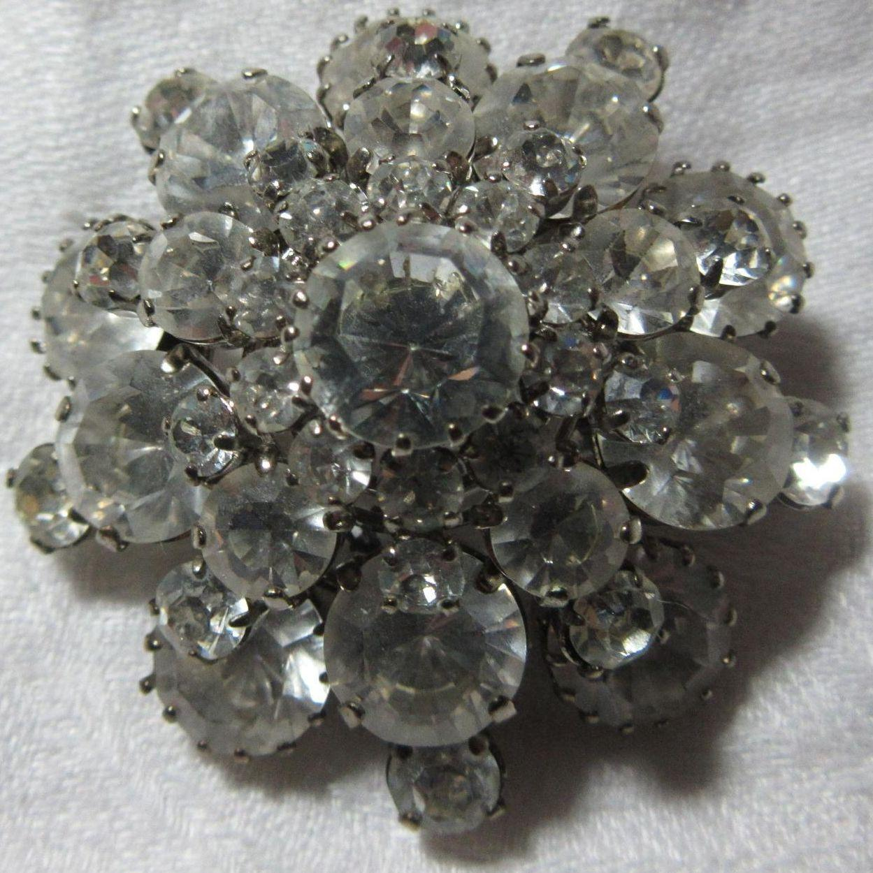 Austria Rhinestone Dome Brooch Pin