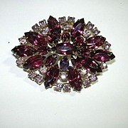 Old Purple & Violet Rhinestone Brooch Pin