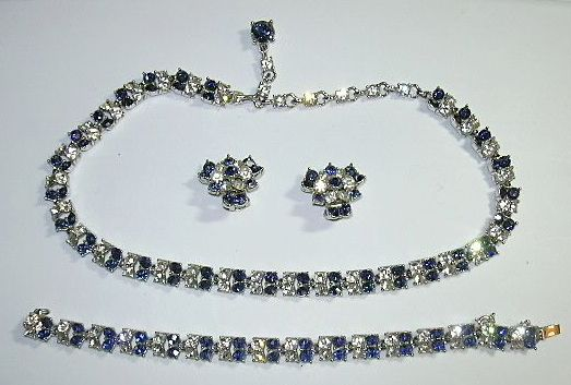 Bogoff sapphire rhinestone clear parure necklace for Bogoff vintage costume jewelry