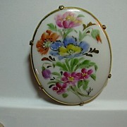 Large Hand Painted Signed Porcelain Brooch