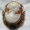Old Carved Shell Cameo Brooch Pendant