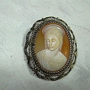 Old Carved Shell Cameo Virgin Mary 800 Silver