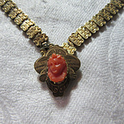 Victorian Gold Filled Coral Cameo Book Chain Necklace