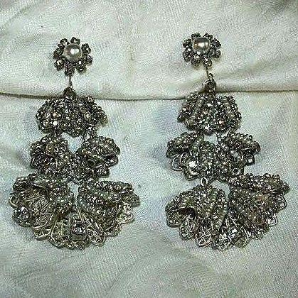 Miriam Haskell Rhinestone & Pearls Dramatic Draped Earrings