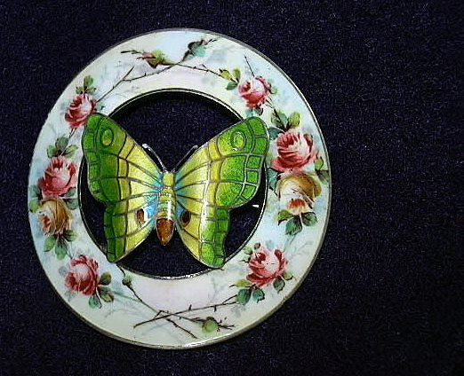 Flowers & Butterfly Enamel On Sterling Silver Old Brooch Sash Pin P&B Paye & Baker