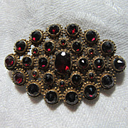 Old Brooch Garnet Red Stones