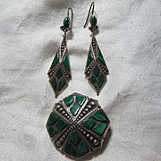 Scottish Malachite & Sterling Brooch Earring Set