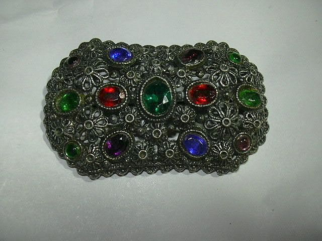 Old Filigree Brooch Colored Stones NE New England Glass