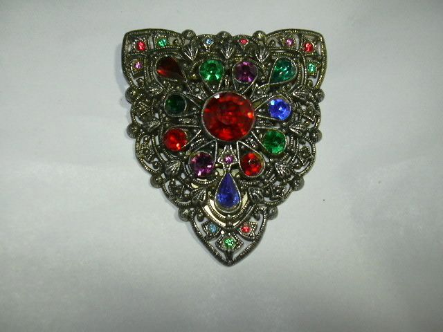 Old Filigree Clip Colored Stones