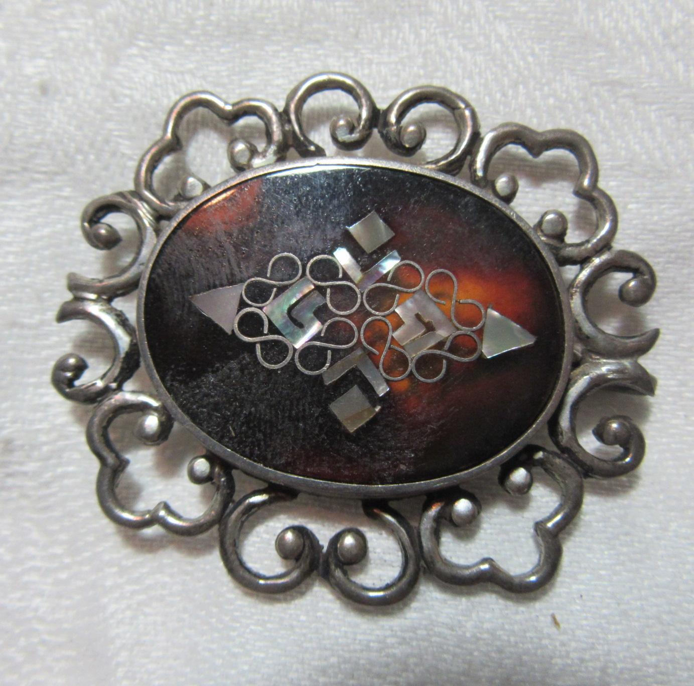 Fine Mexican Sterling PGG Tortie Abalone Inlay Brooch