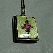 SALE PENDING Gold Filled LaMode Enamel Locket & Chain