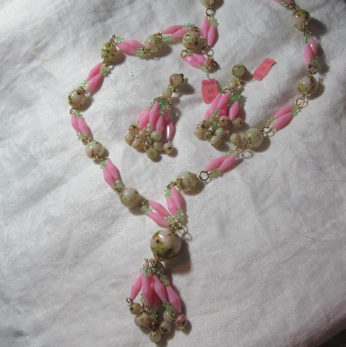 Old Hong Kong Plastic Beads Necklace & Clip Earring Set