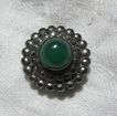 Vintage Sterling Silver Green & Marcasite Clip Fine Costume Jewelry