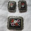 Mosaic Pin & Earring Set  Vintage Italy Fine Costume Jewelry