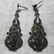 Vintage Sterling Silver & Marcasite Pierced Earrings Fine Costume Jewelry