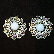 Old Kramer White & Rhinestone Clip Earrings