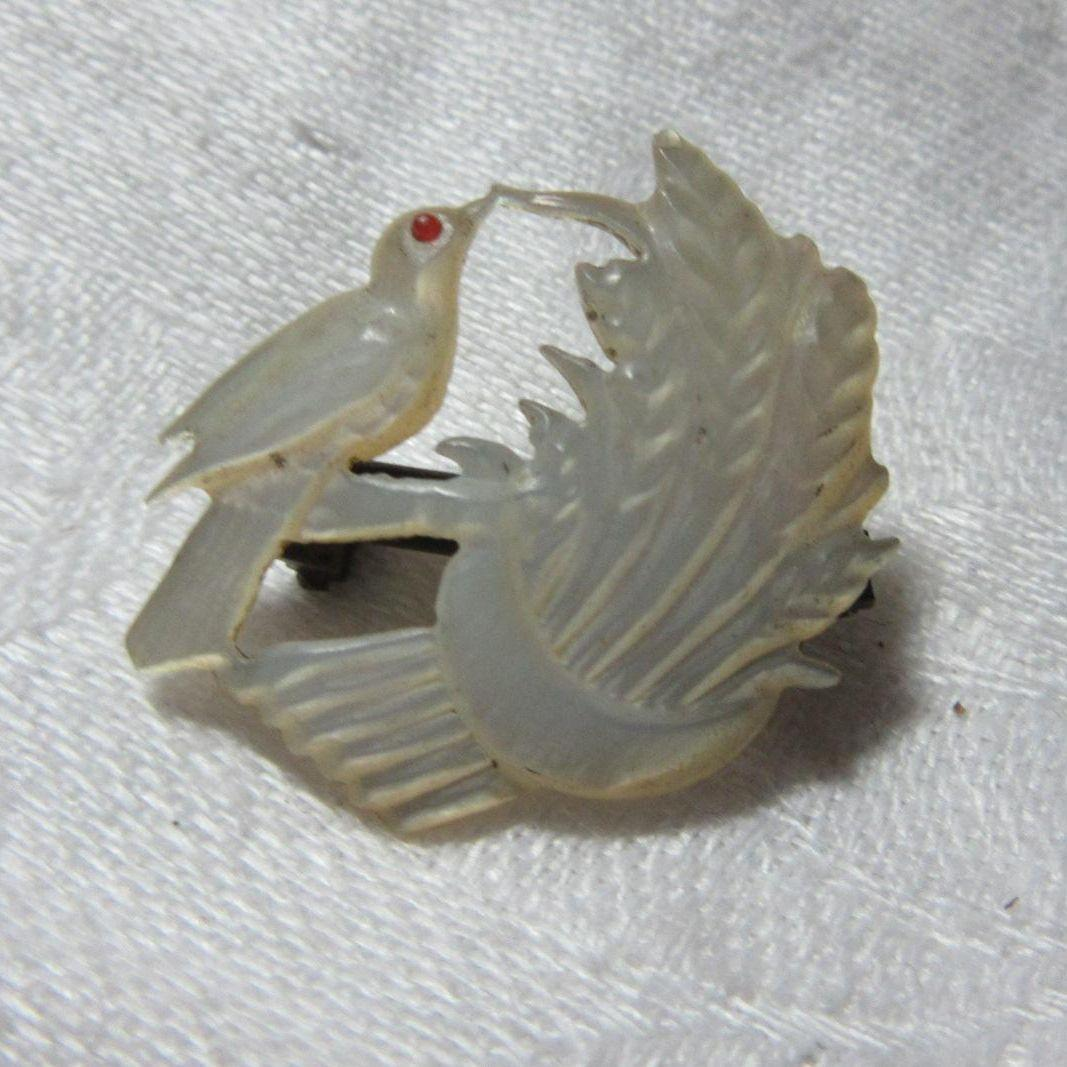 Antique MOP Mother Of Pearl PIn Bird & Wheat Fine Victorian Jewelry