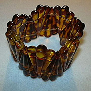 Faux Tortoise Expansion Bracelet Vintage Costume Jewelry