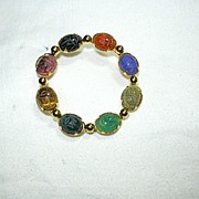 Winard Real Stone Scarab Circle Pin Gold Filled