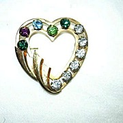Gold Filled Heart Pin Color Rhinestones