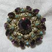 Austria Brooch Pin Purple & Turquoise Stones
