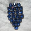 Brilliant Blue Rhinestone Large Dress Clip Vintage Jewelry