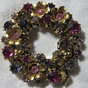 Austria Pink Violet Rhinestone Circle Pin Brooch Wreath Vintage Jewelry