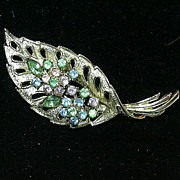 Old Coro Signed Leaf Pin Brooch