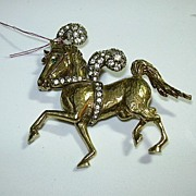 Jeanne Signed Horse Pin With Rhinestones