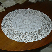 Old Round White Cotton Lace & Embroidery Round Mat