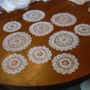 Set 10 Linen Lace Small Rounds Coasters Doilies
