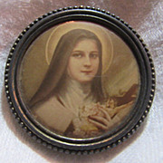 St Therese Lisieux Old Celluloid Medallion Medal
