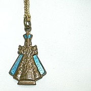 Jesus Infant Of Prague Figural Medal With Turquoise Enamel