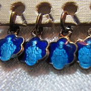 Tiny Old Blue Enamel Infant of Prague Catholic Medal